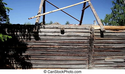 Unfinished old historic cabin log house