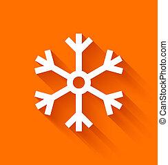 Abstract snowflake on orange background