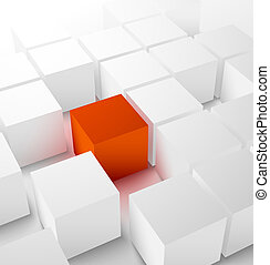 Abstract 3D cubic background with red cube