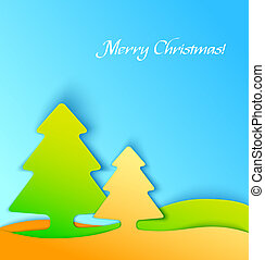 Colorful christmas tree applique background
