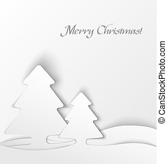 White christmas tree applique background. Vector...