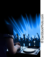 DJ Dance Party Background - Light Show and Dancing Crowd,...