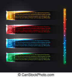 Set of colorful infographics glowing options vector