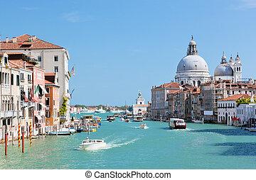 Venice, Italy. Grand Canal and Basilica Santa Maria della...