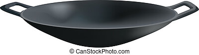 Black skillet for frying - : Wok pan