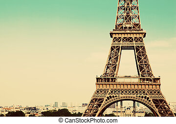 Eiffel Tower section, Paris, France - Eiffel Tower middle...