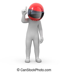 information for racers 3d human points finger up image with...