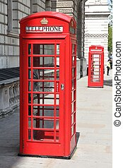London, United Kingdom - red telephone boxes typical for...