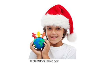 Celebrate christmas around the world concept - Celebrating...