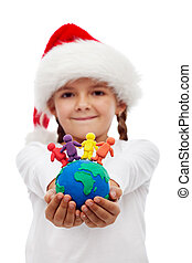 One world of happy people at christmas concept - little...