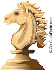white chess horse - Light chess horse with a flowing mane...