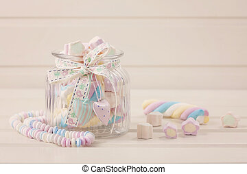 Marshmallow sweets - Candy jar filled with colorful...