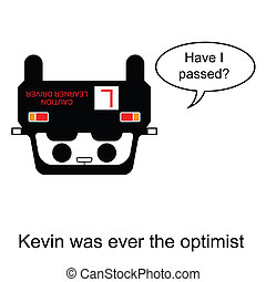 Driving Test - Kevin was ever the optimist cartoon isolated...