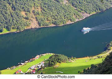 Fiord in Norway - Naeroyfjord - famous UNESCO World Heritage...