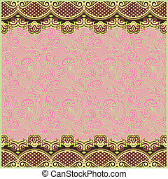 ornate floral background with two ornament stripe