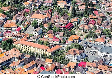 Brasov, town in Transylvania, Romania Aerial view of the Old...
