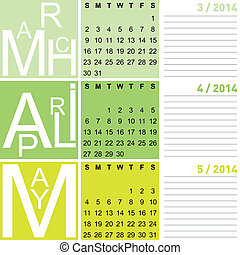 jazzy seasonal calendar spring 2014 including march, april...