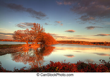 Beautiful Autumn - Beautiful autumnal day with sunset over...