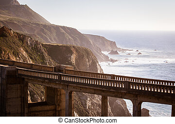 Bixby Bridge - A view of Bixby Bridge out to the Pacific...