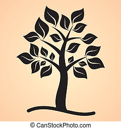 Black tree with leaves on apricot colored background