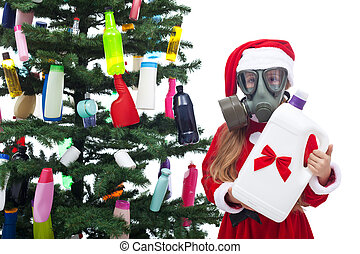 Plastic waste christmas - environmental concept with...
