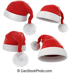 3d Santa claus red hat on white background