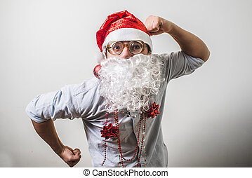 funny santa claus babbo natale myopic on white background