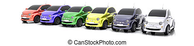 3D Car sale - 3D colourful cars on sale isolated over white