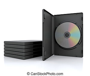 3D DVD Case with a DVD inside isolated