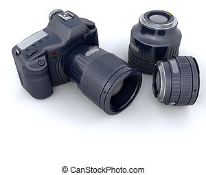 3D camera with lens - 3D photographic camera and its lens...