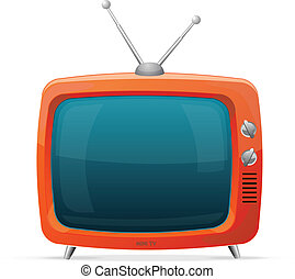 Tv retro cartoon style - Tv red