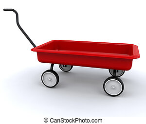 3D Red wagon isolated over a white background