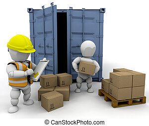 3D men handling materials into a bunker isolated