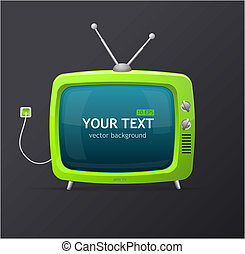 Tv retro cartoon style - Tv green
