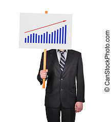 signboard with graph of profits - businessman in suit...