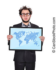world map - sad businessman holding plasma panel with world...