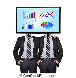 businessman - two businessman and monitor with chart for a...
