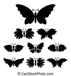 Abstract black butterflies