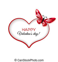 Happy Valentines Day Greeting card with ruby butterfly