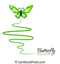 Background with butterfly - Background with green diamond...