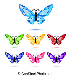 Set of nine diamond butterflies - Set of diamond butterflies...