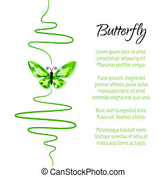 Background with diamond butterfly - Background with green...