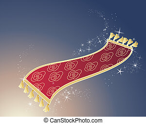 magic carpet - an illustration of a red and gold magic...