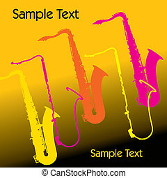 sax background - A colorful vector music sax background with...