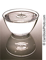 Bowl with clear water, reflected, isolated