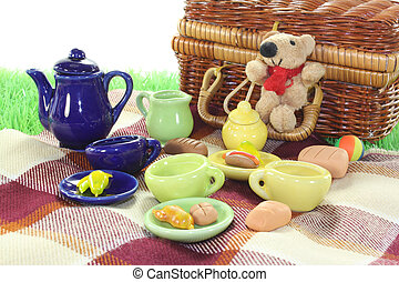 picnic with wicker basket