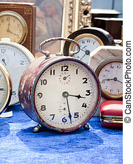 Old clocks at flea market