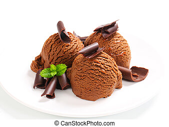 Chocolate fudge ice cream - Scoops of chocolate fudge ice...