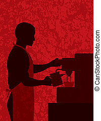 Male Coffee Barista on Textured Background Illustration -...