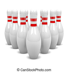 Cluster of Skittles - White and Red Bowling Skittles Cluster...
